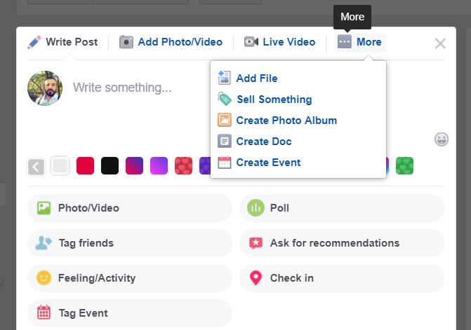Skärmdump med de olika inläggsformaten som Facebook-grupper erbjuder