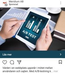 Meridiums annons på Instagram