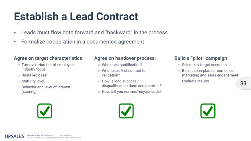 How to establish a Lead Contract