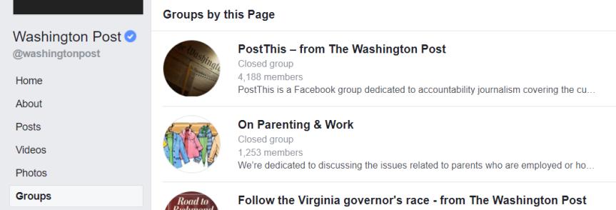 Så syns Washington Posts Facebook-grupper genom att klicka på desktopmenyn till vänster