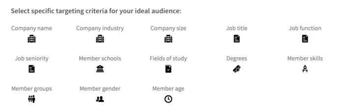 Parametrar i LinkedIn Campaign Manager för att välja målgrupp