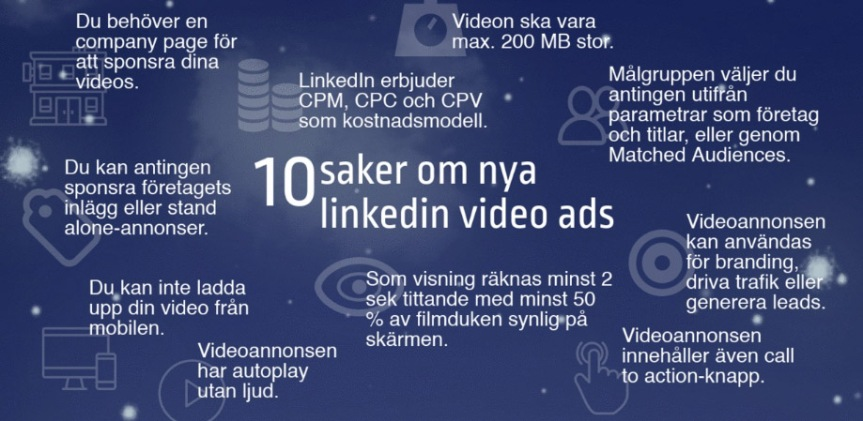 Tio saker du behöver veta om nya LinkedIn Sponsored Video / LinkedIn video ads / Videoannonser