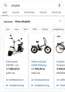 Karusell med produkter från Google Shopping