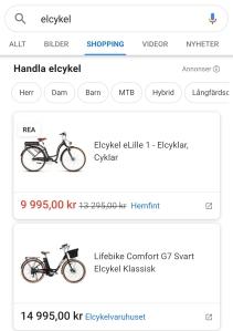 Listning av produkter i Google Shopping